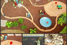 Garden, play, kids, cars, garage