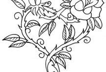 трафарет сердечки бабочки / сердца