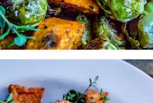 roasted sweet potatoes + brussels sprouts