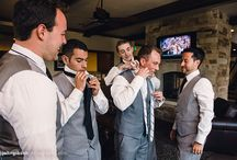 Ponderosa Room- Grooms Room / The Ponderosa Room at Spruce Mountain Ranch has a great space for grooms and groomsmen to prepare for the big day! Equipped with a big screen TV, large leather sofa, table and chairs, and refrigerator.