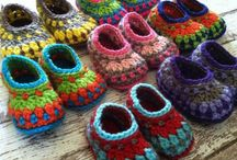 Crochet and knit slippers, shoes / Virkade och stickade skor