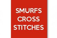 Smurfs cross stitches