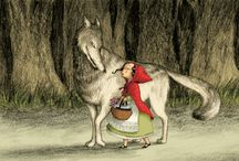 Le Petit Chapron Rouge / Little Red Riding Hood, the Wolf, red