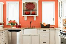 orange and white kitchen