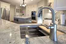 White cabinets and gray island