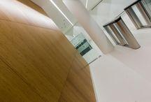 98 Fetter Lane / Reception desk and bamboo veneered wall panels.