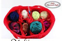 Multiple colours crochet bags