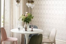 Glass Bead Wallpaper / Traditional and contemporary designs featuring glass beads, crystals and glitters.  Add bling to your walls.