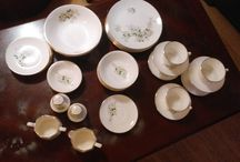 """37 pcs Spring Blossom Georgian 22 kt gold china set for 6 / 375$ I have a really nice set of china for 6 people the set is from Spring blossom 22 kt gold made in the USA the set includes: 6 serving plates 2 serving bowls 6 bowls 6 small plates 2 small sauce dish salt and pepper 5 cups 6 saucer cups creamer and milker really great condition cannot be used in the microwave because of the gold I am in Brampton Area.  Ask me what else we have for sale...we have a lot. come see our store ELV we do consignment and sells items for you   Thank you  """"No Pay Pal"""