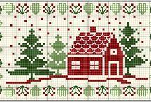 výšivky vianoce a zima