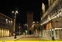 Ferrara / Project Piazza Trento e Trieste, Ferrara (Italy). Neri SpA has manufactured the lighting systems installed in the square by reproducing the original 20th century Ferrara's pastorals with the characterful three arms.