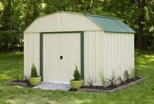 Arrow Vinyl Sheridan Steel Storage Shed / The Vinyl Sheridan Steel Storage Shed  Series has a barn style rough. The sheds are made from Electro Galvanized Steel with a vinyl coating that offers superior corrosion protection.  Two sliding doors make for easy access to your items.  The 10' x 8' and 10'x 14' size offers a generous amount of storage for all your items.