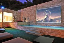 Halles dream house movie theater/pool