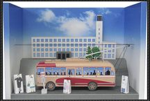 Trolley & tram paper cut model