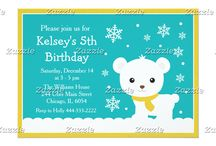 Polar Bear Teal Blue and Gold / This design features a cute polar bear on a green background. The gold border has a grain effect to it. There are falling snowflakes. It makes a cute winter scene!