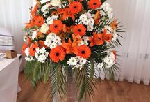 Orange wedding flowers gerbera brides bouquet reception flowers