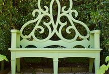 """The Parterre Bench / Designed BY a garden lover for her own Newport garden, the Parterre Bench has always been conceived as the most luxurious of gestures -- a bespoke piece of furniture made to exacting design standards and specifications to be finished in your specific choice of color (mine is painted in a custom """"Parterre green"""")."""