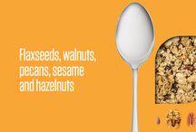 Flaxseeds, Walnuts, Pecans, Sesame and Hazelnuts / Flaxseeds, Walnuts, Pecans, Sesame and Hazelnuts