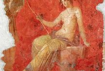 Roman frescoes / Different Roman and Pompeii frescoes made on a thin layer of rollable plaster then installed directly on site like wallpaper.