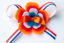 koningsdag / Haarspeldjes en haaraccessoires speciaal voor koningsdag. Rood, wit, blauw en oranje kleuren staan garant voor veel bekijks.