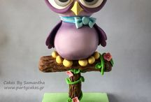 Owl cakes and figures,