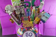 50th birthday sign with candy