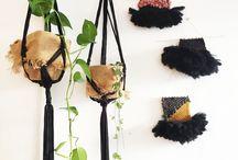 Macramé, tissage, suspension, plantes, décoration murale