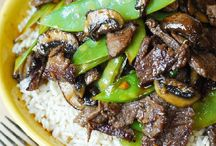 Asian beef with mushrooms n snow peas