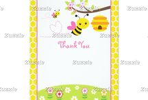 Bumble Bee Girl Baby Shower / This collection features a bumble bee, a branch, colourful flowers in purple, red, pink and orange, and a honeycomb. The background consist of white honeycombs on a yellow background. Perfect for Baby Shower!