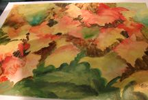Display of Watercolors by Art 047 / Ron Guzman's  Watercolor Painting class created paintings showing the colors and subject matter of the Autumn Season.