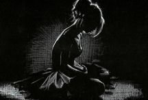 White Drawing on Black Paper