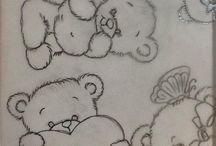 Desenhos bichinhos, flores, moldes