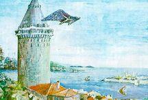 """HAZARFEN ✈ AHMED ÇELEBİ ✈ ☾☆ / Osmanlı Devleti zamanında yetişen ve dünyada ilk olarak uçmayı başaran Türk bilginidir. Ahmed Çelebi Doğum1609 İstanbul Ölüm1640 Cezayir Padişah  IV. Murat   döneminde  İstanbul'da yaşamıştır;     geniş  bilgi sahibi  olduğu,  bu  yüzden  de  halk tarafından   kendisine """"bin  fenli""""   anlamına  gelen Hezarfen   şanı  verildiği   bilinmektedir.1623-1640 yılları arasında saltanat süren Sultan Dördüncü Murat zamanında yaşamış olup meşhur gösterisini yine bu Sultan huzurunda yapmıştır."""