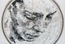Ed Fairburn • drawing / J'ai découvert Ed Fairburn par hasard et j'ai trouvé sa façon de dessiner originale et intéressante : il réalise des portraits sur des planisphères, des cartes, ou des plans, et une route devient un cheveu, un point d'eau une narine. J'adore !