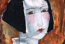 Faces: drawings, paintings, collage / artsy stuff / by Deborah Woo