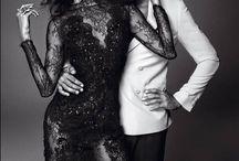 Studio couple poses