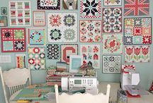 Mini quilts on wall