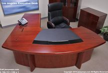 Modern Executive Desk - Los Angeles Model / An executive desk having a workstation on the main desktop and side return to work either way. This unique desk is in stock in 4 sizes with left or right returns, and dataports.