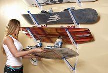 Snowboard tartó