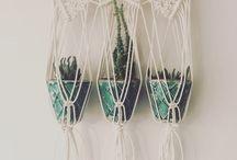 Triple macrame hanging pot planter