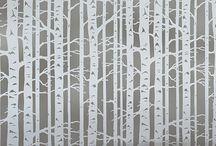 birch tree stencil cards / by Susan Knowlton