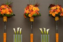 Fall reception ideas / tall pilsner glasses with your favorite colors and flowers