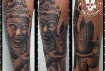 Sculpture Tattoo / #sculturetattoo #poseidon #virgins #god #religioustattoo #orfeo #moises