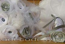 Mariage en Satin gris et blanc