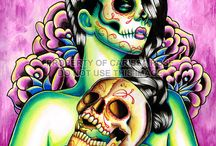 DAY OF THE DEAD / Skulls, sugar skulls, roses and colours.  The day of the dead is here.  ♥
