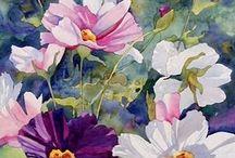 Cosmos Paintings / I love cosmos flowers