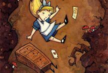 Alice in Wonderland / Alice in Wonderland, white rabbit, mad hatter, queen of hearts, cheshire cat, caterpillar
