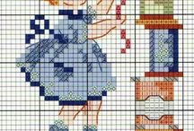 Cross stitch girls and boys