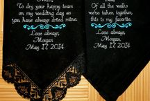 Black Lace Embroidered  Wedding Handkerchiefs by Canyon Embroidery / Mother & Father of the Bride Wedding Gift Embroidered Wedding Handkerchief's by Canyon Embroidery