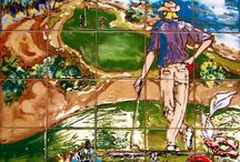 Hand Painted Golf Tile  Murals / hand painted tile murals of golf courses and golf tile art for gifts